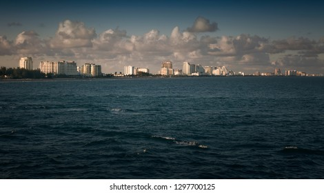 Horizon landscape of the city of Fort Lauderdale, Florida over the Atlantic Ocean