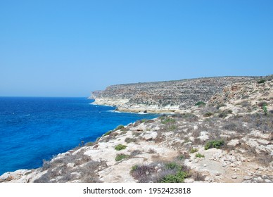 Horizon with landscape of Lampedusa, Italy. Summer 2009.