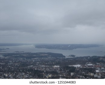 Horizon over Oslo from Holmenkollen hill in the Winter - Norway