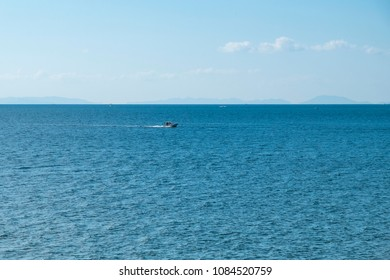 Horizon of the sea ocean and blue sky background