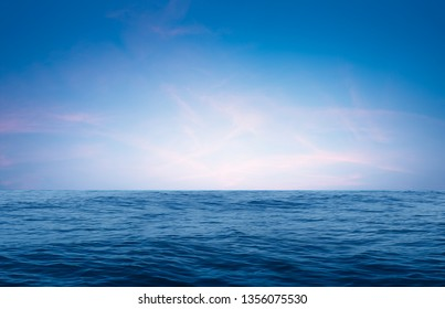 horizon Sea, Ocean waves of nature smooth surface and blue sky with summer for background