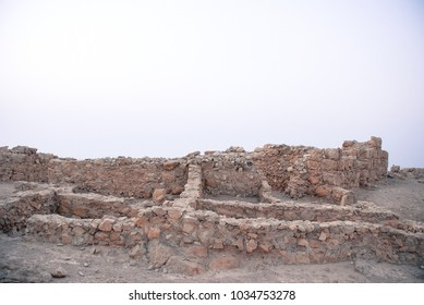 Horizonal picture of the old wall on the top of plateau in Massada, Israel