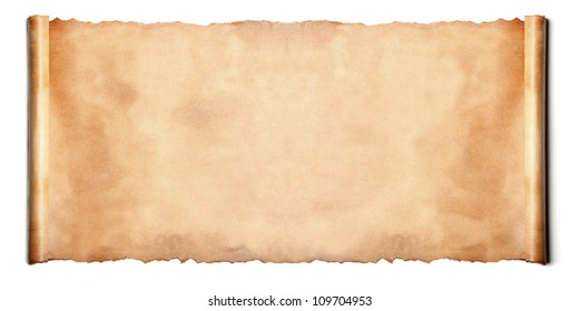 Horizontal ancient scroll isolated over a white background