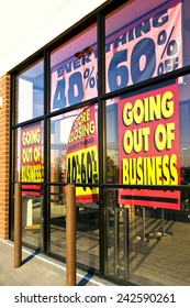 Horizontal Angled Shot Of Retail Store Everything On Sale/ Going Out Business