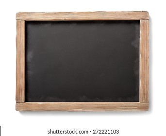 horizontal antique chalkboard with aged wooden frame,isolated