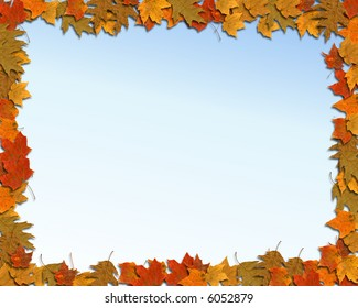 Horizontal Autumn Background With Grad Blue Sky Center