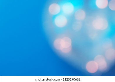 Horizontal background with blurred lightd. Cold blue color