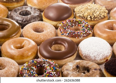Horizontal Background of Donuts or Doughnuts