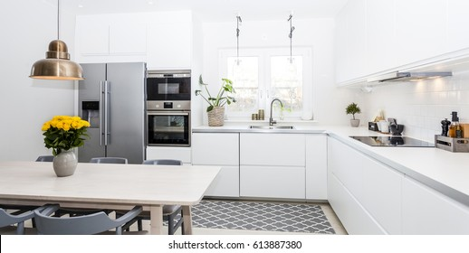 horizontal banner of a fancy kitchen