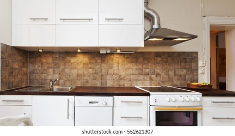 horizontal banner of interior of a kitchen