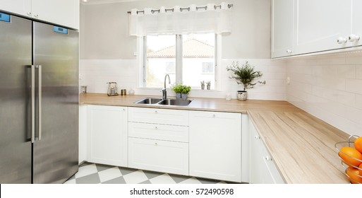 horizontal banner of a stylish kitchen
