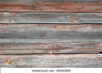 Horizontal Barn Wooden Wall Planking Texture. Reclaimed Old Wood Slats Rustic shabby Background. Home Interior Design Element In Modern Vintage Style. Hardwood Dark Brown Timbered Structure. Close Up
