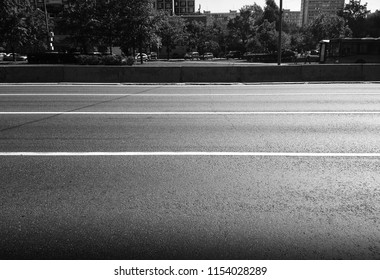 Horizontal black and white city road background