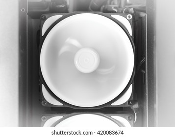 Horizontal black and white rotating computer cooler background