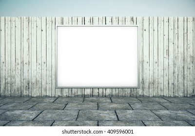 Horizontal blank billboard on white wood fence and street with walkway on blue sky. 3D Rendering.