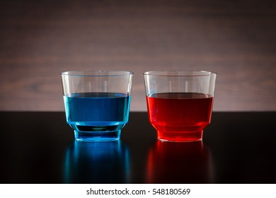 Horizontal blue and red drink in a glass
