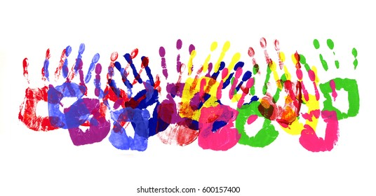 Horizontal Border Pattern Of Child Handprints