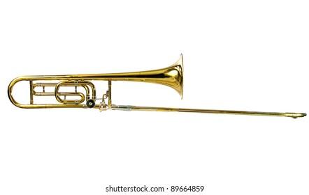 Horizontal Brass Tenor Trombone Isolated on White