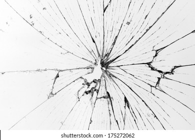 horizontal broken glass white background