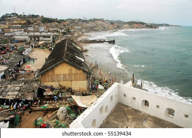 Horizontal of Cape Coast foreshore and houses from the castle