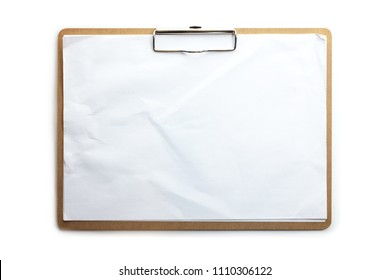 Horizontal clipboard with real life use condition blank white paper. Isolated on pure white. High resolution.