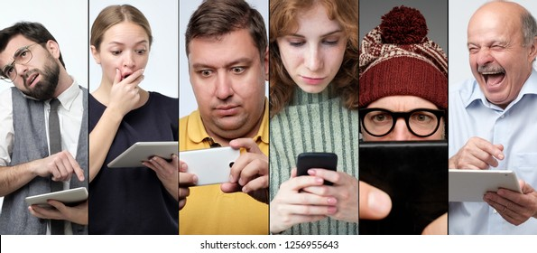 Horizontal colage portrait of several women and men using modern devices to check their mail or to read sms.