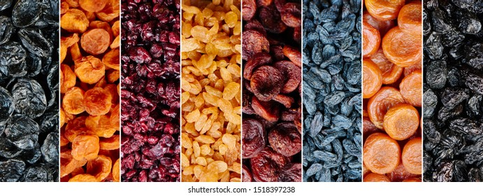 Horizontal collage of mix dried fruits of different colors. Natural banner background from apricots, prunes, raisins, plums, berries