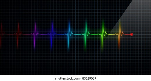 Horizontal Colorful Pulse Trace Heart Monitor
