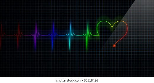 Horizontal and Colorful Pulse Trace Heart Monitor with the symbol of a heart in line with the pulse.