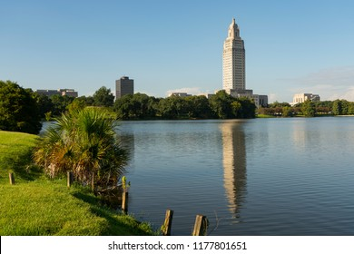 A horizontal composition of the area around Capitol at the State Capital Building Baton Rouge Louisiana