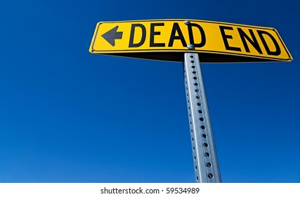 Horizontal Dead End Sign against a blue sky