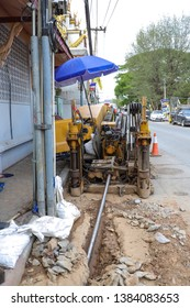 Horizontal directional drilling machine , is a machine for installing underground pipes and conduits along a prescribed bore path from the soil surface