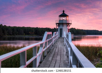 Horizontal Doubling Point Lighthouse Walkway Sunset - Arrowsic Island, Kennebec River, Maine, USA