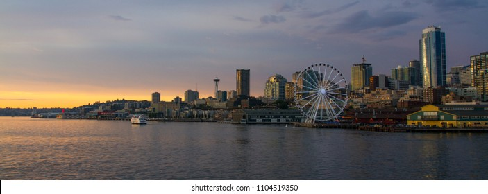 Horizontal Dusk shot of downtown Seattle