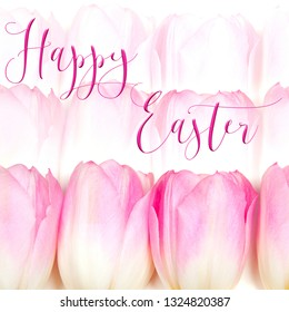 Horizontal Easter background with a pretty pink bunch of tulips, and 'Happy Easter' quote. Perfect for Easter Social Media campaigns.