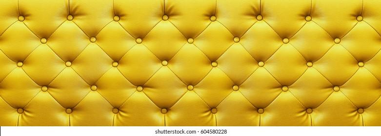 es ist horizontal, elegant gelbe Lederstruktur mit Knöpfen für Hintergrund und Design.