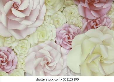 horizontal Flower Paper Wedding Backdrop Wall background and Texture.