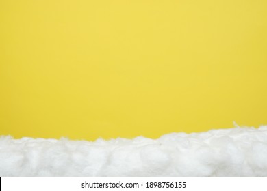 A Horizontal Fluffy Cloud for a Product Display, Showing a Foreground with a Top Ledge of Soft Fibre.
