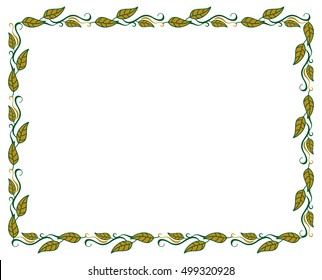 Horizontal frame with color decorative leaves. Raster clip art.