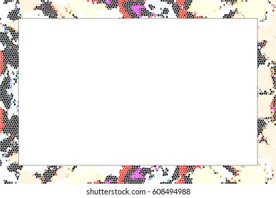 Horizontal frame of stained glass colorful abstract pattern with a white empty space inside for your text or image