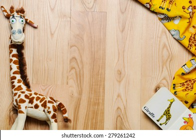 horizontal frame of stuff and toys for newborn baby, baby fashion concept