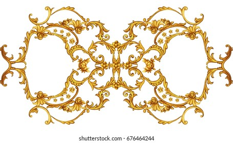 Horizontal golden arabesque with floral elements 2