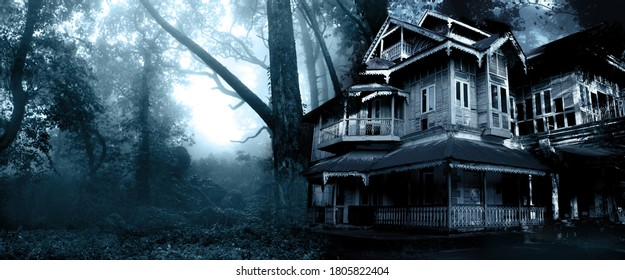 Horizontal Halloween banner with haunted house. Old abandoned house in the night forest. Scary colonial cottage in mysterious forestland. Photo toned in blue color - Shutterstock ID 1805822404