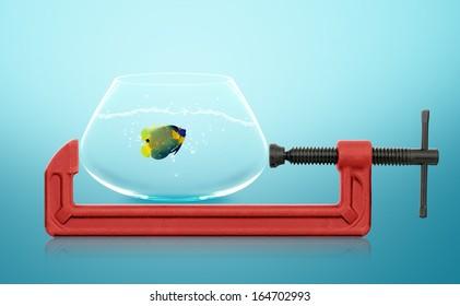 horizontal hand vise c-clamp and fish bowl