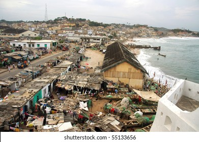 Horizontal of houses in Cape Coast township from castle
