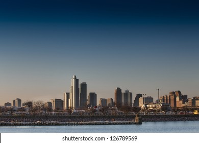 Horizontal image of building in Chicago Illinois over the lake