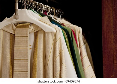 Horizontal image of Catholic Priest's vestments.