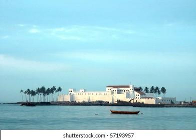 Horizontal image of Elmina Castle across the water
