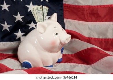 horizontal image of piggy bank on an American flag