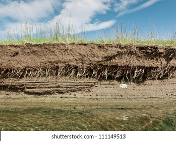 Horizontal image of a Riverbank on a clear day showing cross section of the earth